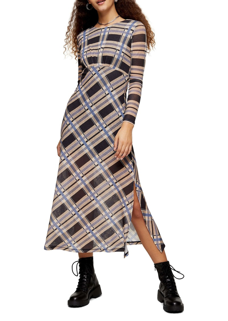 Topshop Check Print Long Sleeve Midi Dress