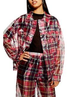 Topshop Check Print Organza Jacket