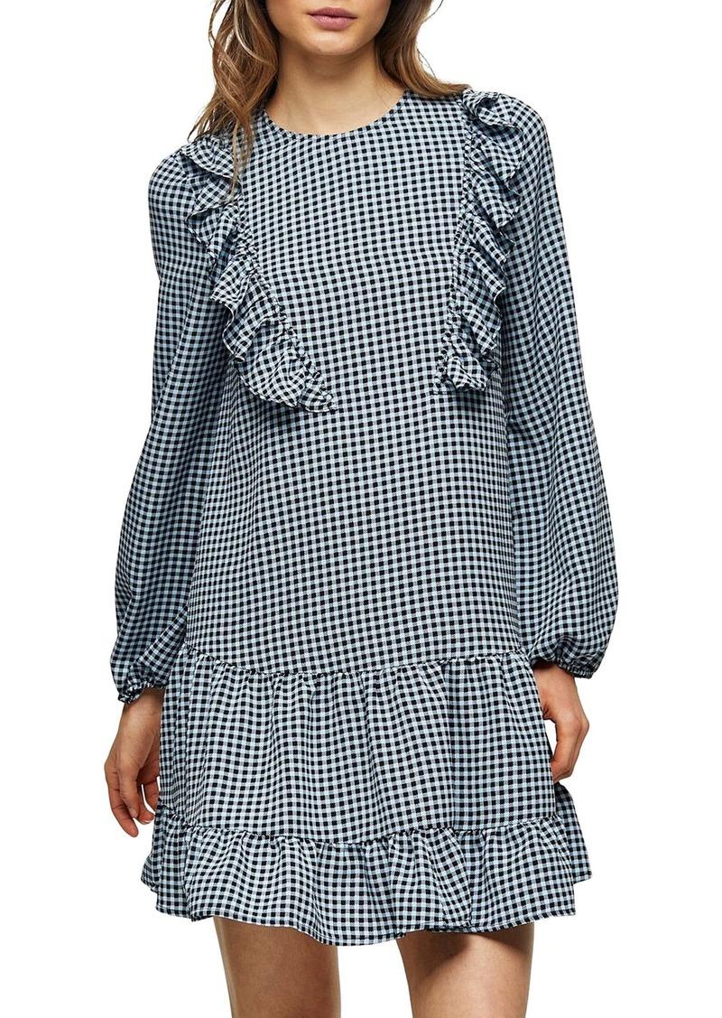 Topshop Check Ruffle Long Sleeve Dress