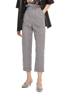 Topshop Check Ruffle Peg Leg Trousers