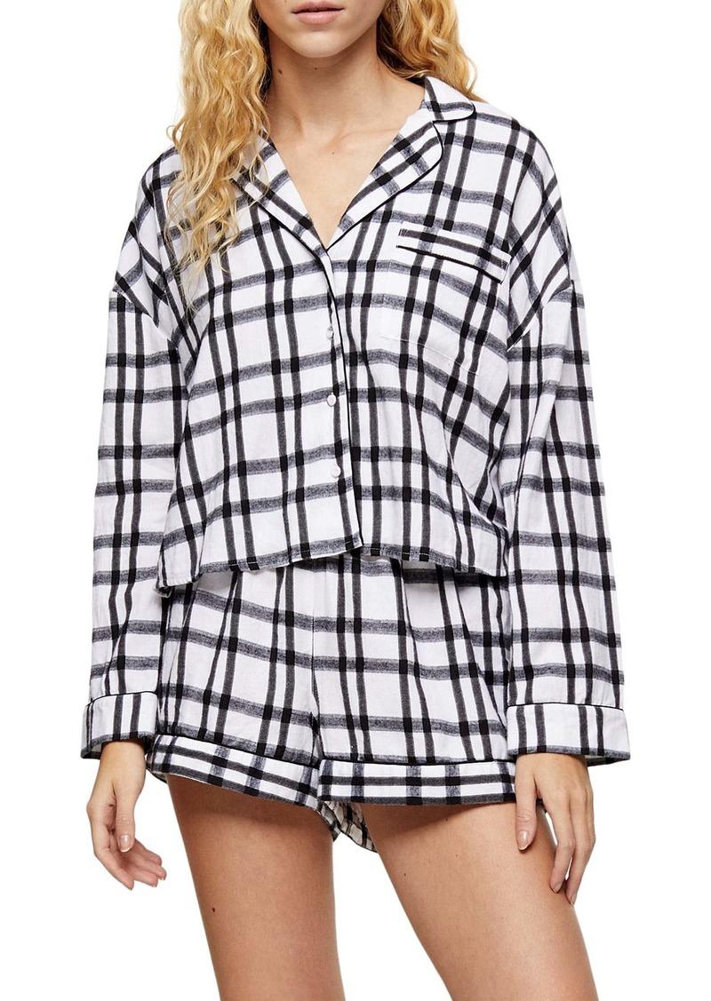Topshop Check Short Pajamas