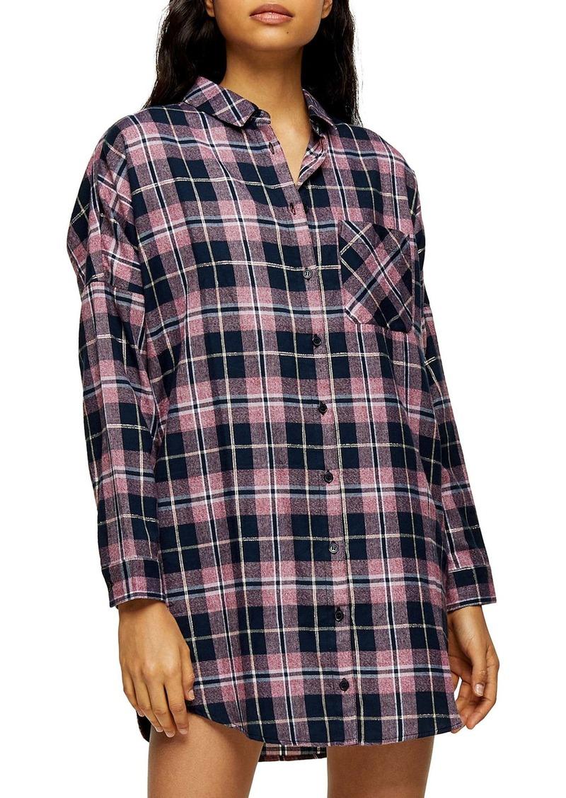 Topshop Check Sleep Pajama Shirt