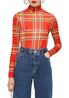 Topshop Check Slinky Funnel Neck Top