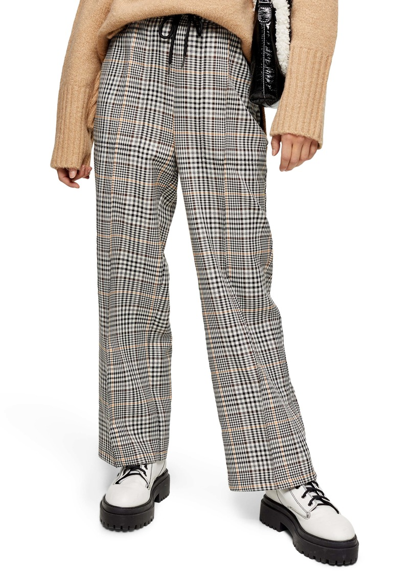 Topshop Check Wide Leg Trousers (Petite)