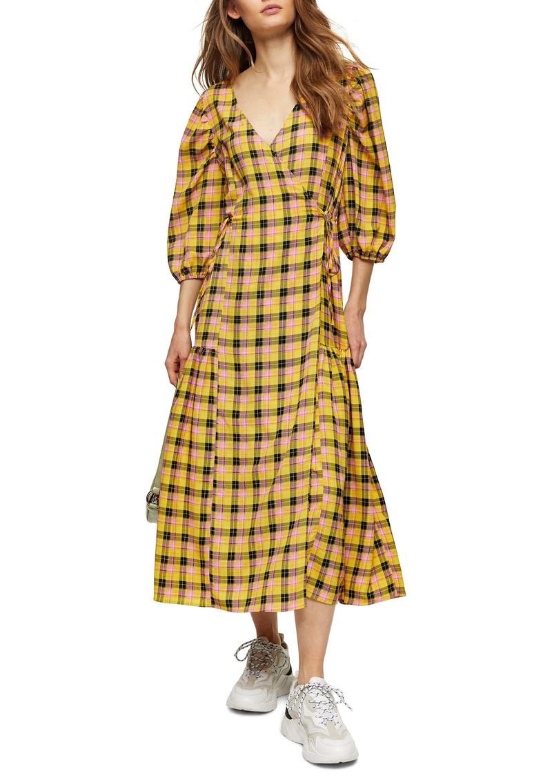 Topshop Check Wrap Midi Dress
