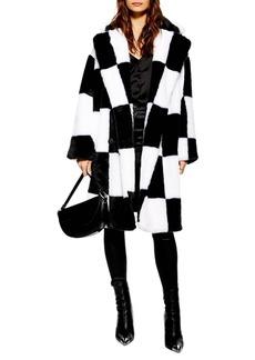 Topshop Checkerboard Faux Fur Coat