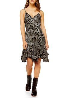 Topshop Checkerboard Godet Flared Dress (Petite)