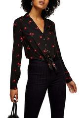 Topshop Cherry Print Tie Front Blouse