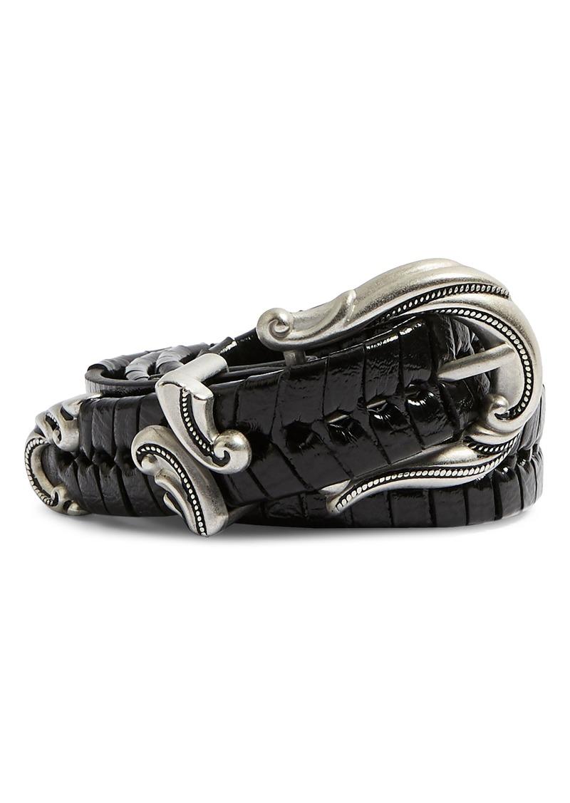 Topshop Chevron Western Weave Faux Leather Belt