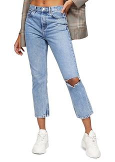 Topshop Chicago Crop Slim Straight Jeans (Bleach)