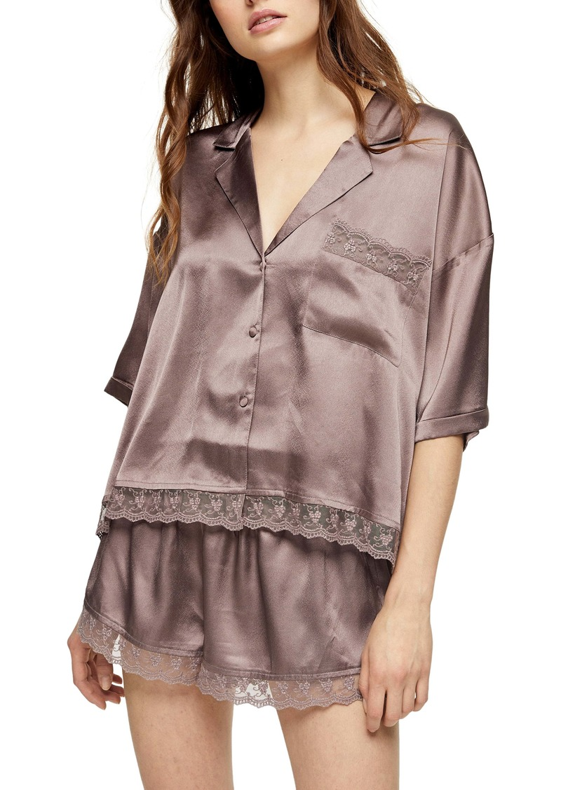 Topshop Chloe Lace Trim Short Pajamas