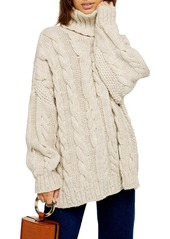Topshop topshop chunky cable turtleneck sweater abva594088 a