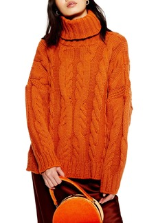 Topshop Chunky Cable Turtleneck Sweater