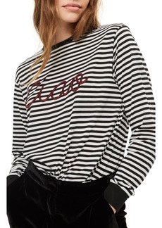 Topshop Ciao Embroidered Stripe Shirt (Petite)