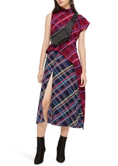 Topshop Clan Clash Check Midi Dress
