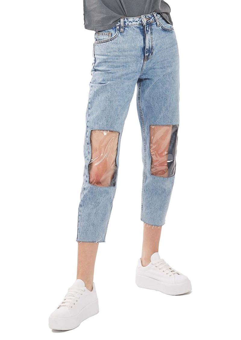 topshop topshop clear knee mom jeans now shop it. Black Bedroom Furniture Sets. Home Design Ideas