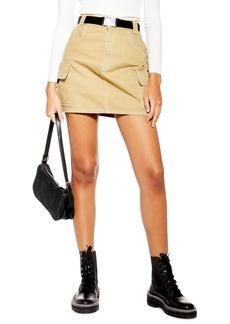 Topshop Clip Buckle Denim Skirt