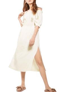 Topshop Cold Shoulder Embroidered Dress
