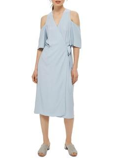 Topshop Cold Shoulder Wrap Midi Dress