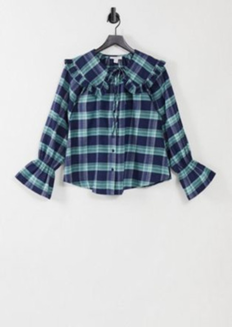 Topshop collared shirt in blue plaid