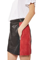 Topshop Colorblock Leather Skirt