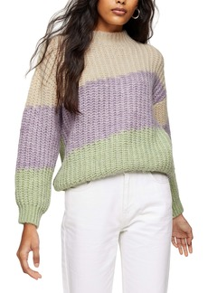 Topshop Colorblock Mock Neck Sweater