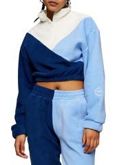 Topshop Colorblock Quarter Zip Fleece Crop Pullover