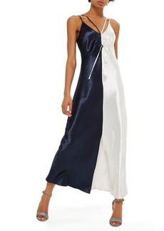 Topshop Colorblock Strappy Satin Maxi Dress