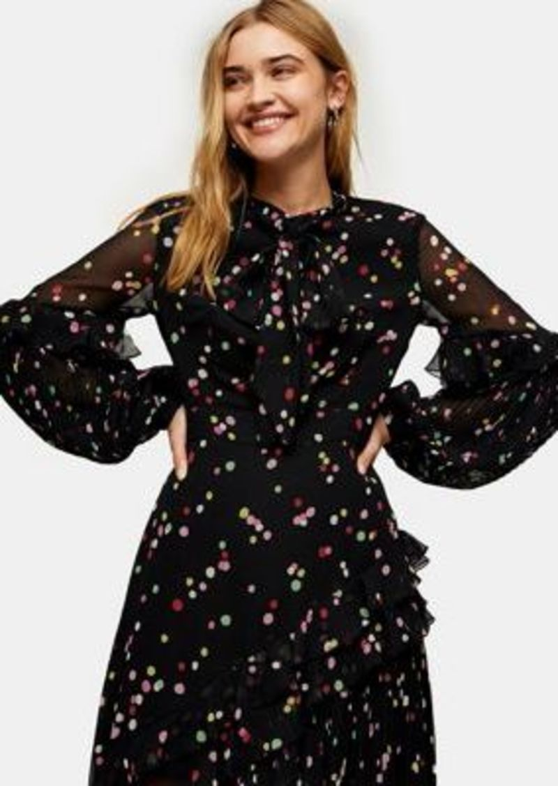 Topshop confetti rainbow dot midi dress in black