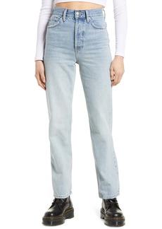Topshop Considered Kort Back Rip Straight Leg Jeans