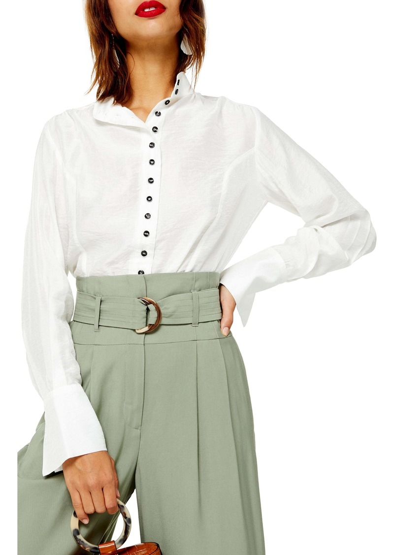 Topshop Contrast Button Shirt