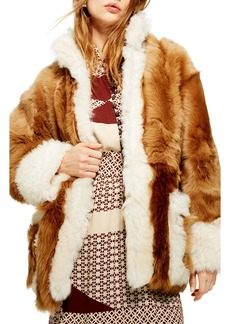 Topshop Contrast Genuine Shearling Jacket