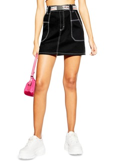Topshop Contrast Stitch Utility Skirt