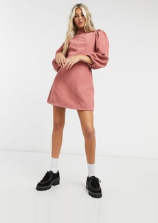 Topshop corduroy baby doll mini dress in pink
