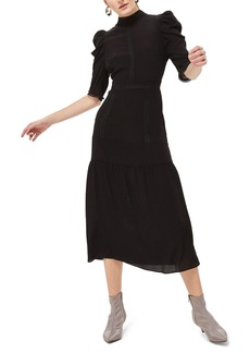 Topshop Corset Back Tiered Midi Dress