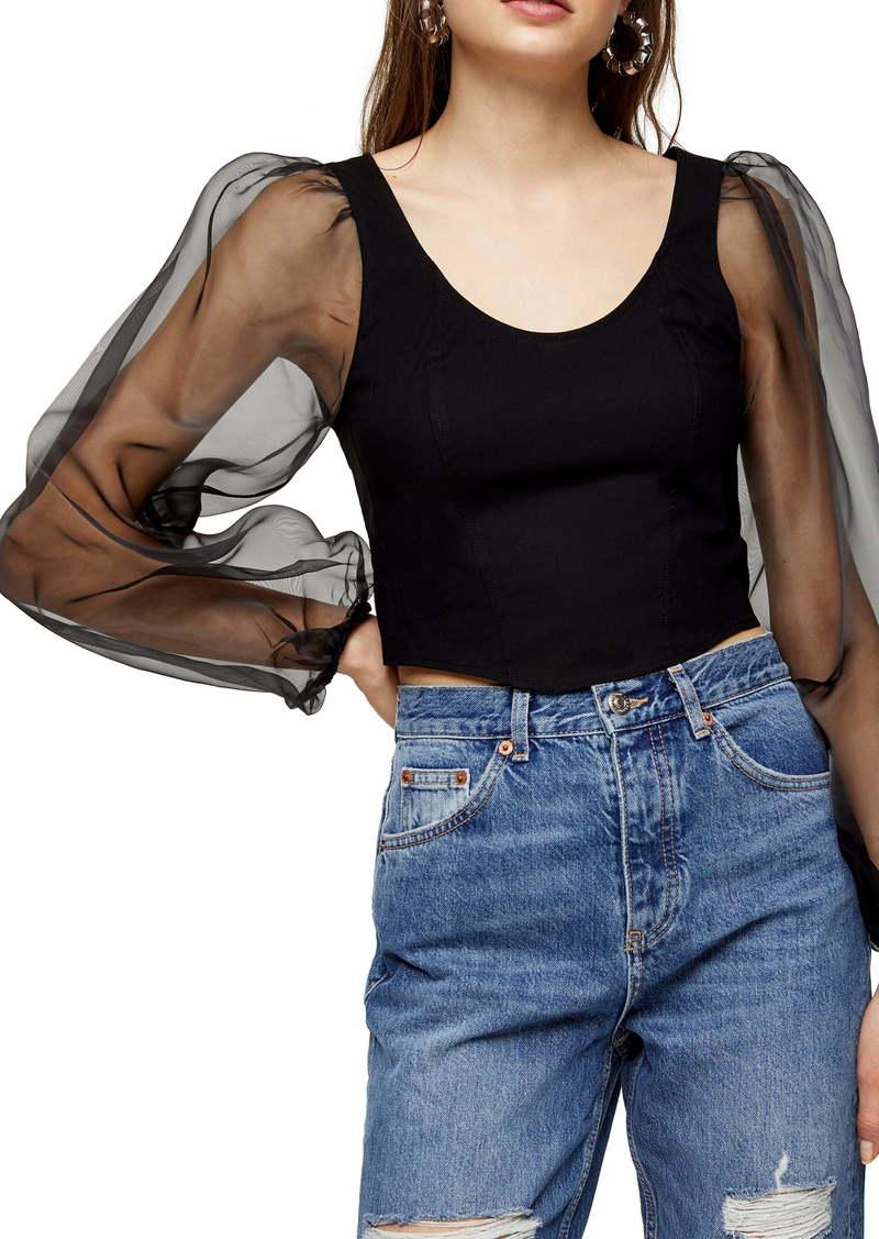 Topshop Corset Organza Sleeve Stretch Cotton Top