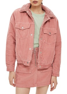 Topshop Cotton Corduroy & Faux Shearling Jacket