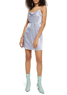 Topshop Cowl Neck Satin Mini Slipdress