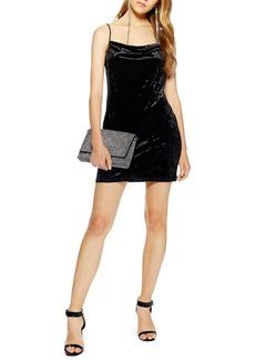 Topshop Cowl Velvet Minidress