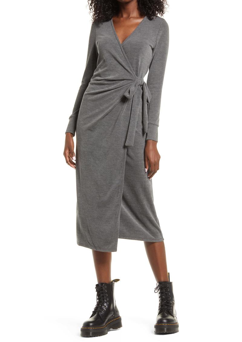 Topshop Cozy Long Sleeve Ribbed Wrap Dress