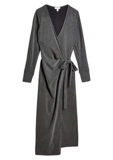 Topshop Cozy Long Sleeve Ribbed Wrap Dress