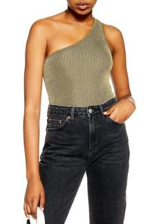 Topshop Crinkle One-Shoulder Bodysuit
