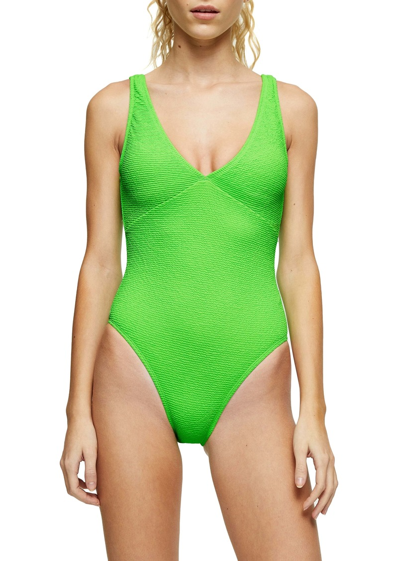 Topshop Crinkle Plunge Swimsuit