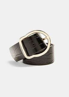 Topshop croc effect slim belt in black