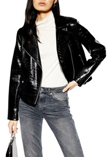 Topshop Croc Embossed Faux Leather Jacket