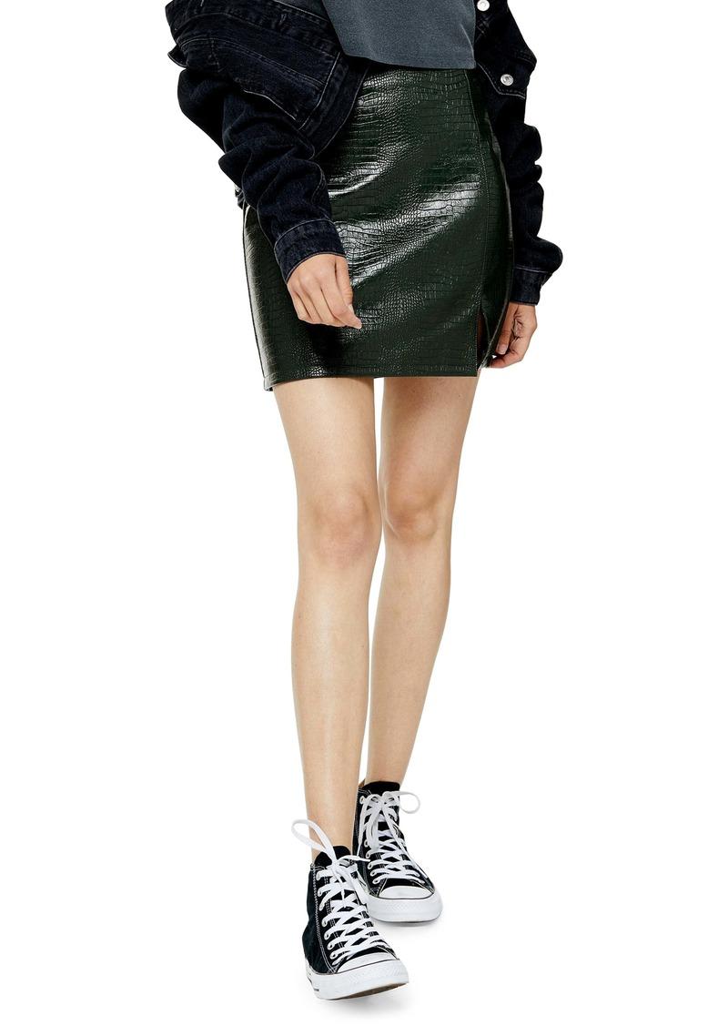 Topshop Croc Embossed Faux Leather Miniskirt (Regular & Petite)