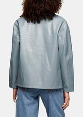 Topshop Crocodile Faux Leather Shirt Jacket