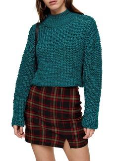 Topshop Crop Bouclé Sweater