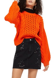 Topshop Crop Cable Sweater