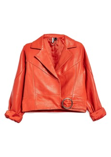 Topshop Crop Leather Moto Jacket